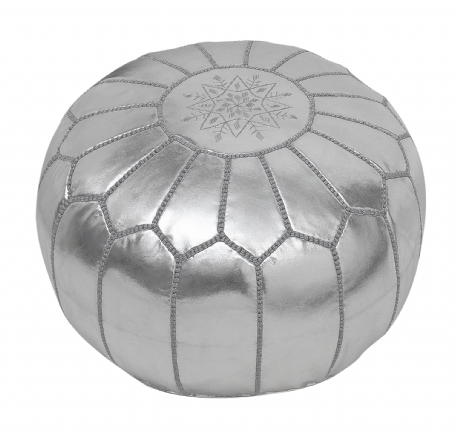 Moroccan Pouffe Pouf Ottoman Footstool Silver Grey Faux Leather COVER ONLY or STUFFED